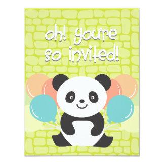 Invitación de la fiesta de cumpleaños de la panda invitación 10,8 x 13,9 cm