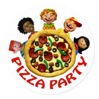Invitación de la fiesta de cumpleaños de la pizza