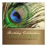 Invitación de la fiesta de cumpleaños de la pluma invitación 13,3 cm x 13,3cm