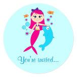Invitación de la fiesta de cumpleaños de la sirena invitación 13,3 cm x 13,3cm