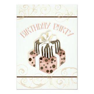 Invitación de la fiesta de cumpleaños de la torta invitación 12,7 x 17,8 cm