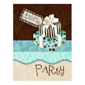 Invitación de la fiesta de cumpleaños de la torta postal