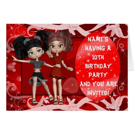 Invitación de la fiesta de cumpleaños de los chica tarjetón