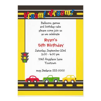 Invitación de la fiesta de cumpleaños de los coche