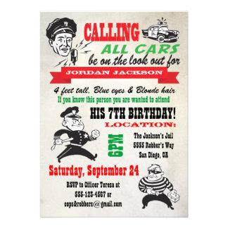 Invitación de la fiesta de cumpleaños de los polis