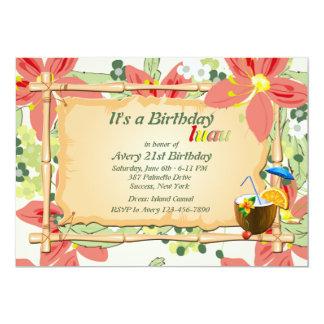 Invitación de la fiesta de cumpleaños de Luau