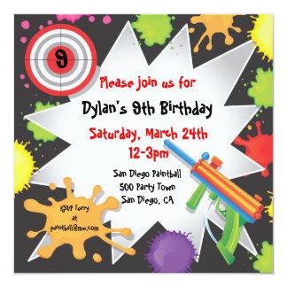Invitación de la fiesta de cumpleaños de Paintball Invitación 13,3 Cm X 13,3cm