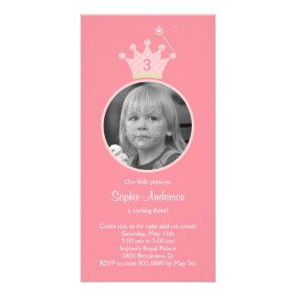 Invitación de la fiesta de cumpleaños de princesa  tarjetas personales con fotos