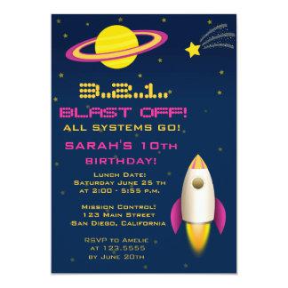 Invitación de la fiesta de cumpleaños de Rocket Invitación 12,7 X 17,8 Cm