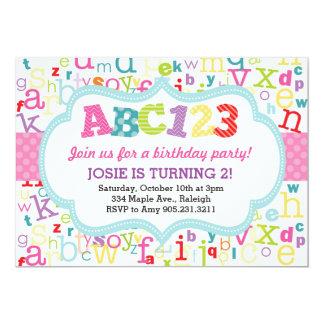 Invitación de la fiesta de cumpleaños del alfabeto