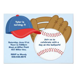 Invitación de la fiesta de cumpleaños del béisbol invitación 12,7 x 17,8 cm