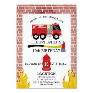 Invitación de la fiesta de cumpleaños del bombero