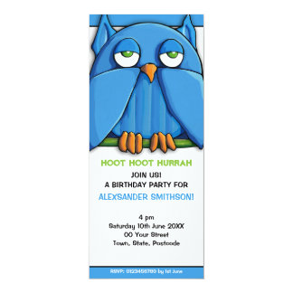 Invitación de la fiesta de cumpleaños del búho de invitación 10,1 x 23,5 cm