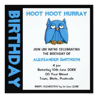 Invitación de la fiesta de cumpleaños del búho de invitación 13,3 cm x 13,3cm
