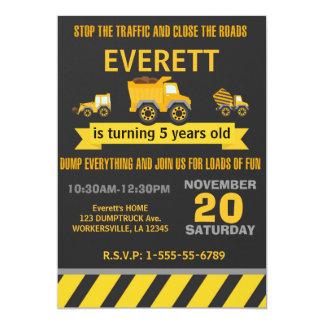 Invitación de la fiesta de cumpleaños del camión