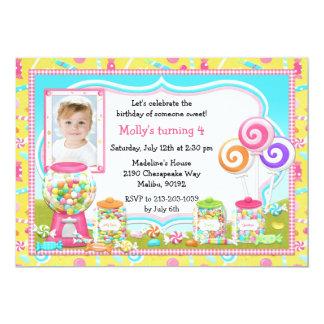 Invitación de la fiesta de cumpleaños del caramelo