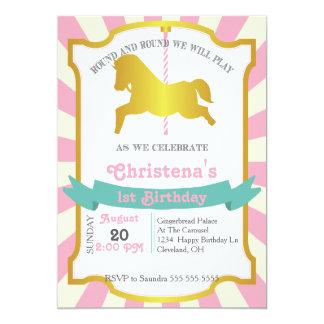 Invitación de la fiesta de cumpleaños del carrusel