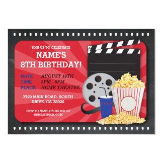 Invitación de la fiesta de cumpleaños del cine de