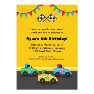 Invitación de la fiesta de cumpleaños del coche de