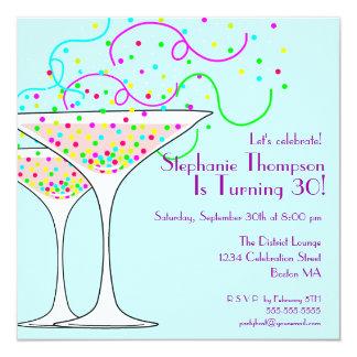 Invitación de la fiesta de cumpleaños del cóctel invitación 13,3 cm x 13,3cm