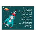 Invitación de la fiesta de cumpleaños del cohete invitación 12,7 x 17,8 cm