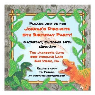 Invitación de la fiesta de cumpleaños del dinosaur