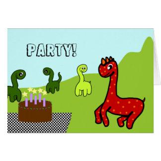 Invitación de la fiesta de cumpleaños del dinosaur felicitación