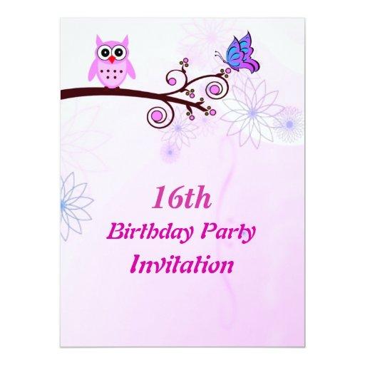Invitación de la fiesta de cumpleaños del dulce 16 invitación 16,5 x 22,2 cm