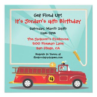 Invitación de la fiesta de cumpleaños del Firetruc
