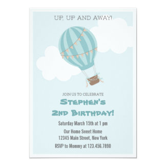 Invitación de la fiesta de cumpleaños del globo invitación 12,7 x 17,8 cm