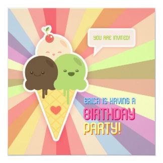 Invitación de la fiesta de cumpleaños del helado invitación 13,3 cm x 13,3cm