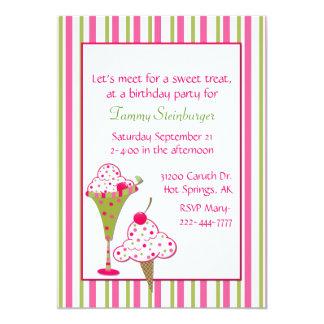 Invitación de la fiesta de cumpleaños del helado