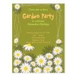 Invitación de la fiesta de cumpleaños del jardín d tarjetas postales