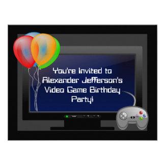 Invitación de la fiesta de cumpleaños del juego de