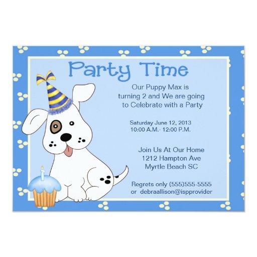 Invitación de la fiesta de cumpleaños del mascota