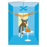 Invitación de la fiesta de cumpleaños del mono del felicitaciones
