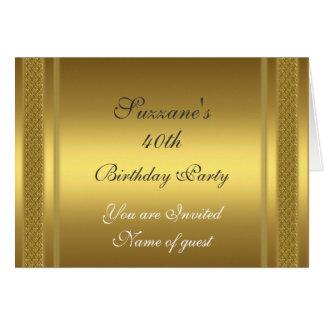 Invitación de la fiesta de cumpleaños del oro tarjeta de felicitación