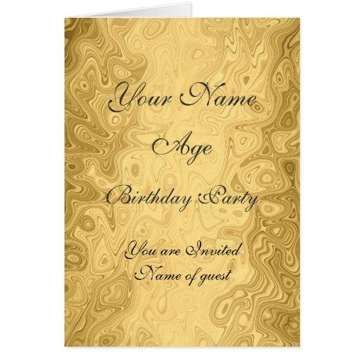 Invitación de la fiesta de cumpleaños del oro todo tarjetón