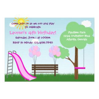Invitación de la fiesta de cumpleaños del parque d