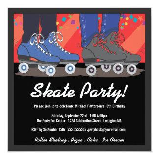 Invitación de la fiesta de cumpleaños del patinaje