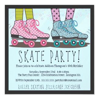 Invitación de la fiesta de cumpleaños del patinaje invitación 13,3 cm x 13,3cm