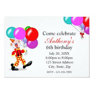 Invitación de la fiesta de cumpleaños del payaso