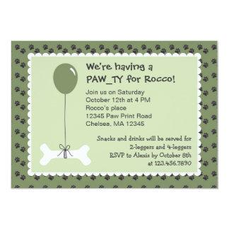 Invitación de la fiesta de cumpleaños del perro invitación 12,7 x 17,8 cm