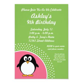 Invitación de la fiesta de cumpleaños del pingüino invitación 12,7 x 17,8 cm