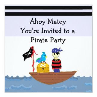 Invitación de la fiesta de cumpleaños del pirata invitación 13,3 cm x 13,3cm