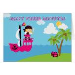 Invitación de la fiesta de cumpleaños del pirata d felicitaciones