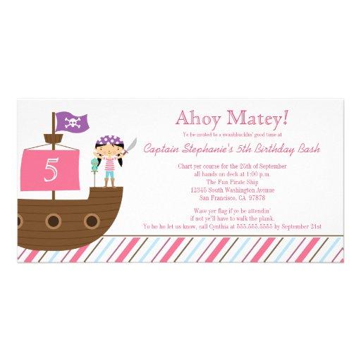 Invitación de la fiesta de cumpleaños del pirata d tarjeta fotográfica