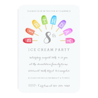 Invitación de la fiesta de cumpleaños del Popsicle