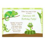Invitación de la fiesta de cumpleaños del reptil invitación 12,7 x 17,8 cm