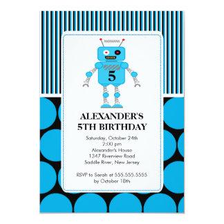 Invitación de la fiesta de cumpleaños del robot invitación 12,7 x 17,8 cm